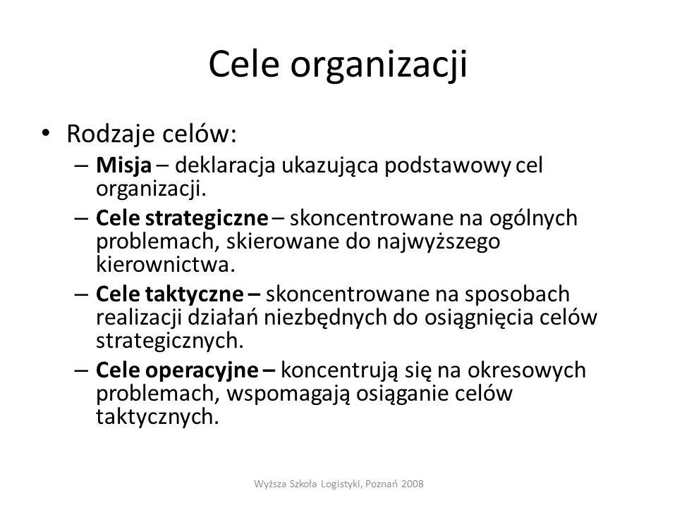 Cele organizacji Rodzaje celów: – Misja – deklaracja ukazująca podstawowy cel organizacji.