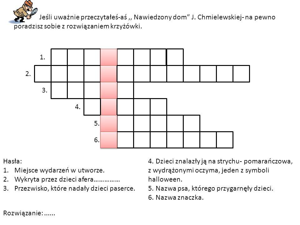 """Jeśli uważnie przeczytałeś-aś,, Nawiedzony dom"""" J. Chmielewskiej- na pewno poradzisz sobie z rozwiązaniem krzyżówki. 1. 2. 3. 4. 5. 6. Hasła: 1.Miejsc"""