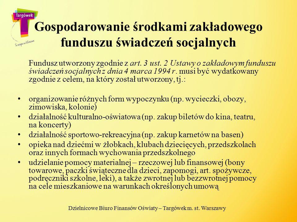 Gospodarowanie środkami zakładowego funduszu świadczeń socjalnych Fundusz utworzony zgodnie z art. 3 ust. 2 Ustawy o zakładowym funduszu świadczeń soc