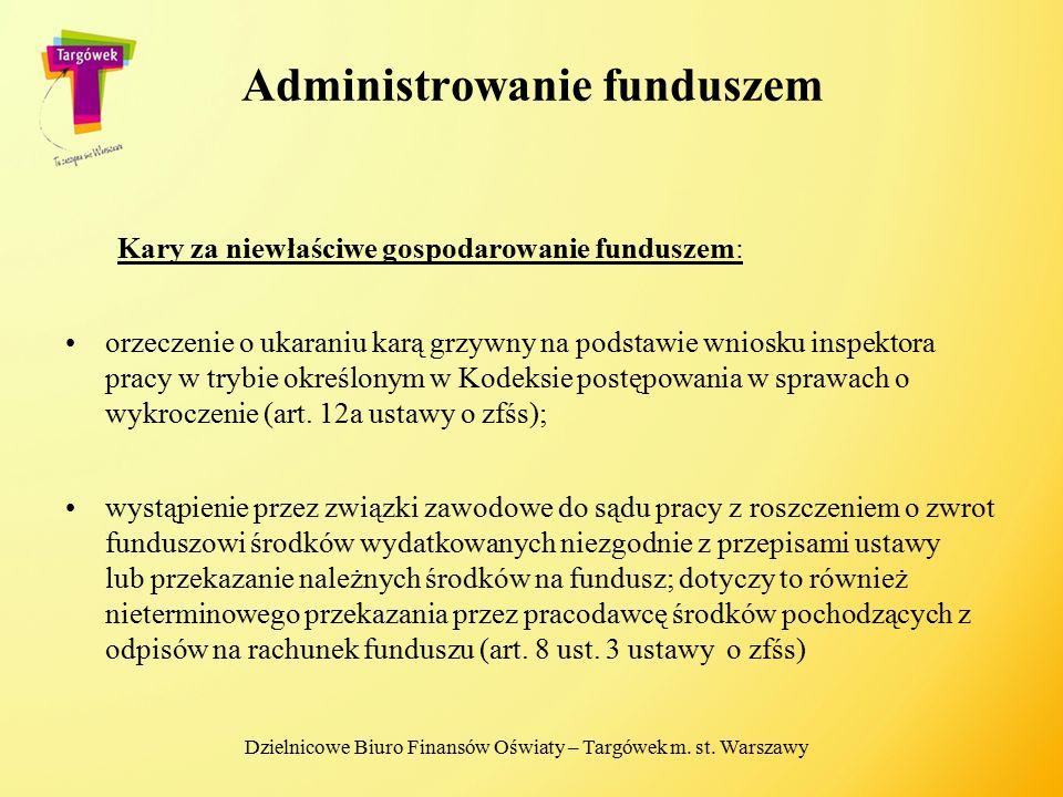 Administrowanie funduszem Kary za niewłaściwe gospodarowanie funduszem: orzeczenie o ukaraniu karą grzywny na podstawie wniosku inspektora pracy w try