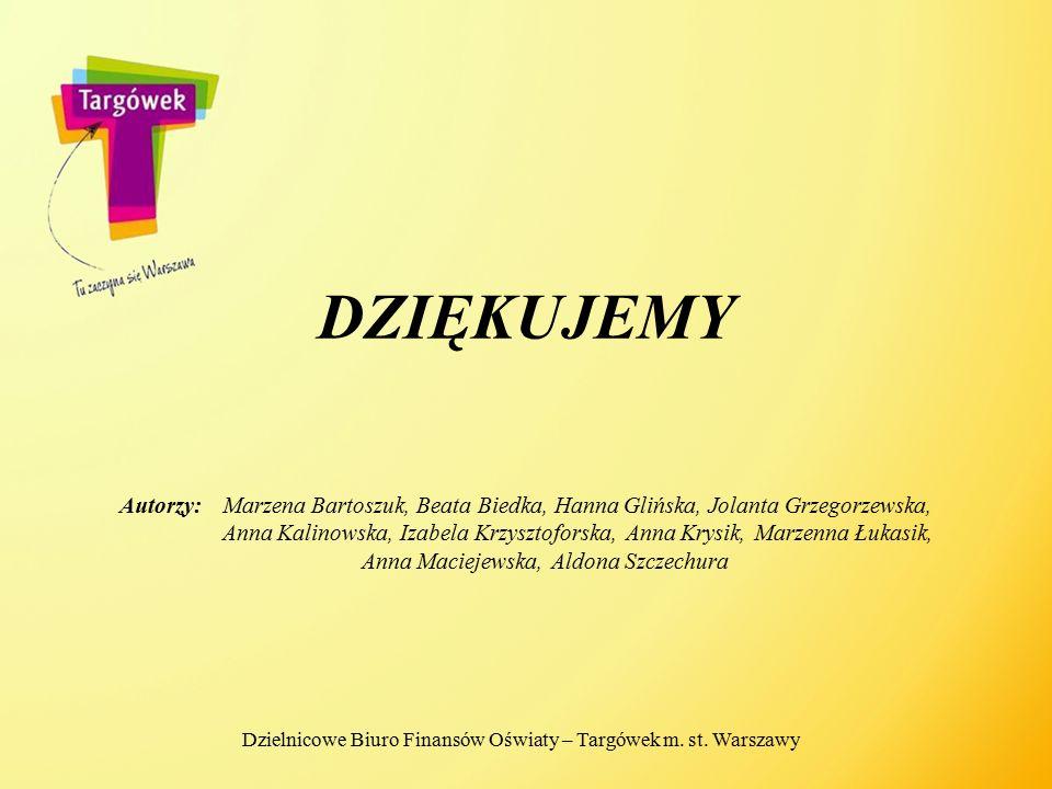 DZIĘKUJEMY Autorzy:Marzena Bartoszuk, Beata Biedka, Hanna Glińska, Jolanta Grzegorzewska, Anna Kalinowska, Izabela Krzysztoforska, Anna Krysik, Marzen