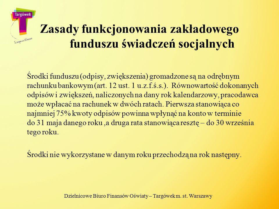 Zasady funkcjonowania zakładowego funduszu świadczeń socjalnych Środki funduszu (odpisy, zwiększenia) gromadzone są na odrębnym rachunku bankowym (art