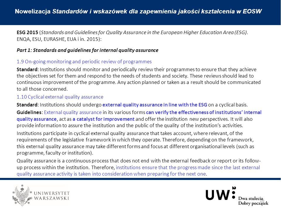 ESG 2015 (Standards and Guidelines for Quality Assurance in the European Higher Education Area (ESG).