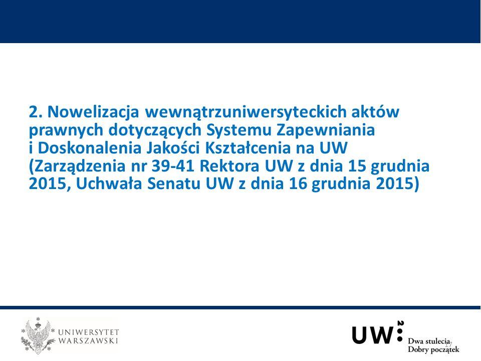 2. Nowelizacja wewnątrzuniwersyteckich aktów prawnych dotyczących Systemu Zapewniania i Doskonalenia Jakości Kształcenia na UW (Zarządzenia nr 39-41 R