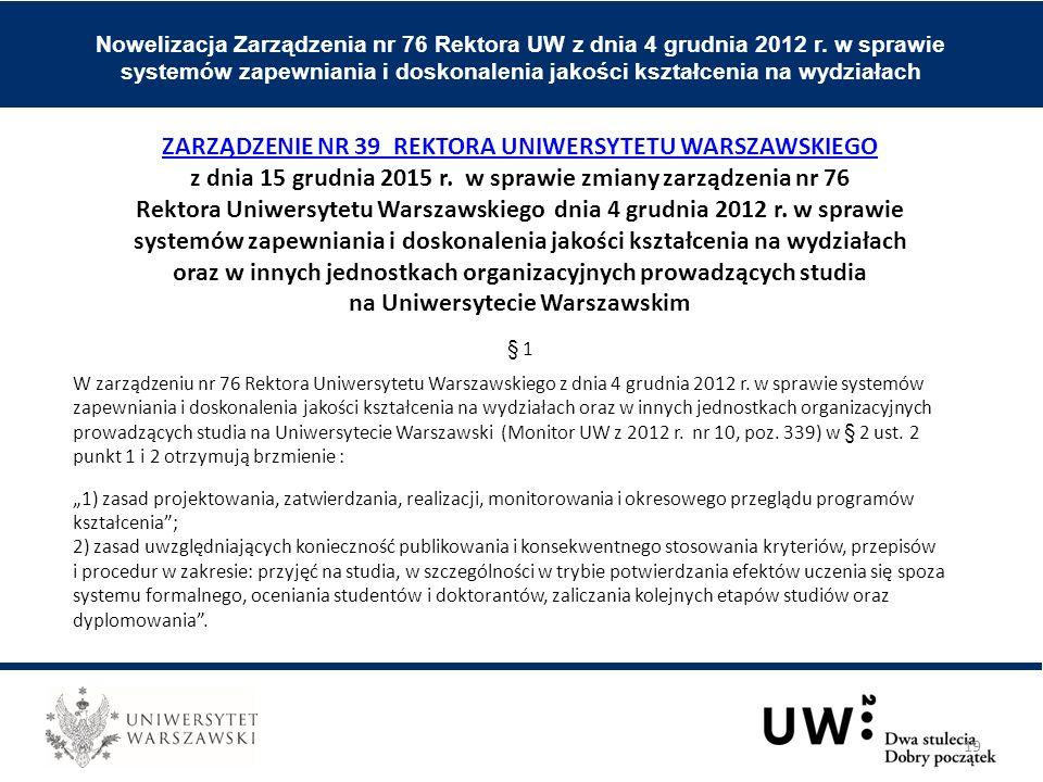 Nowelizacja Zarządzenia nr 76 Rektora UW z dnia 4 grudnia 2012 r.