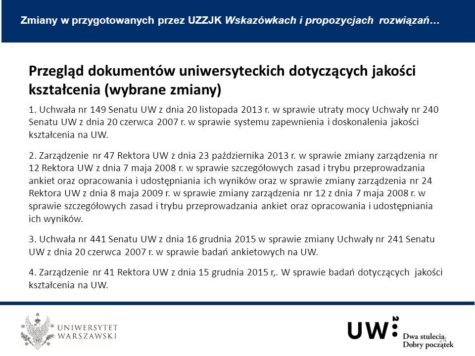 Przegląd dokumentów uniwersyteckich dotyczących jakości kształcenia (wybrane zmiany) 1.