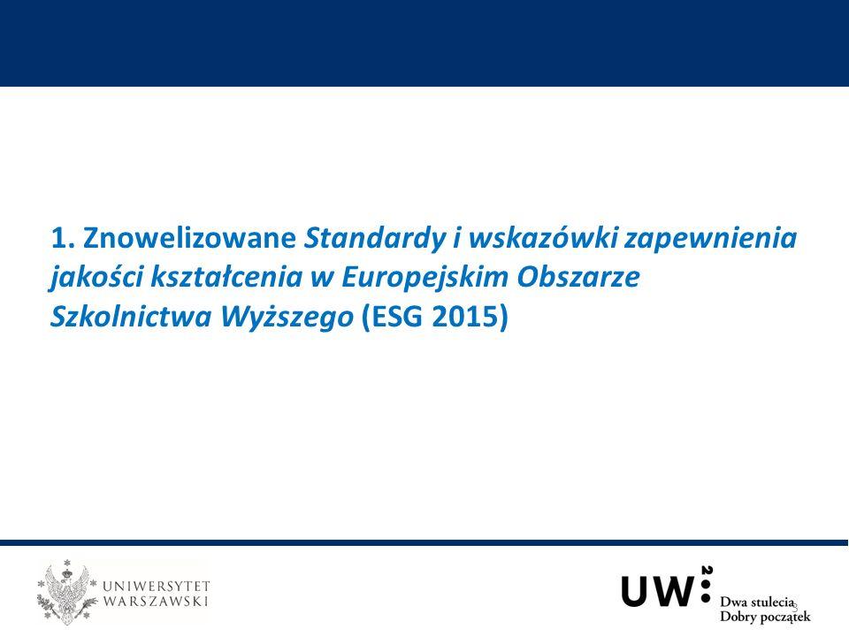 1. Znowelizowane Standardy i wskazówki zapewnienia jakości kształcenia w Europejskim Obszarze Szkolnictwa Wyższego (ESG 2015) 3