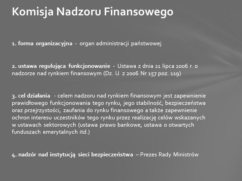 1. forma organizacyjna - organ administracji państwowej 2. ustawa regulująca funkcjonowanie - Ustawa z dnia 21 lipca 2006 r. o nadzorze nad rynkiem fi