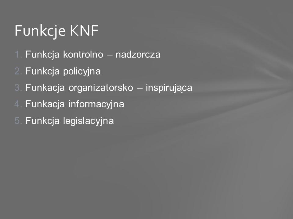 1.Funkcja kontrolno – nadzorcza 2.Funkcja policyjna 3.Funkacja organizatorsko – inspirująca 4.Funkacja informacyjna 5.Funkcja legislacyjna Funkcje KNF