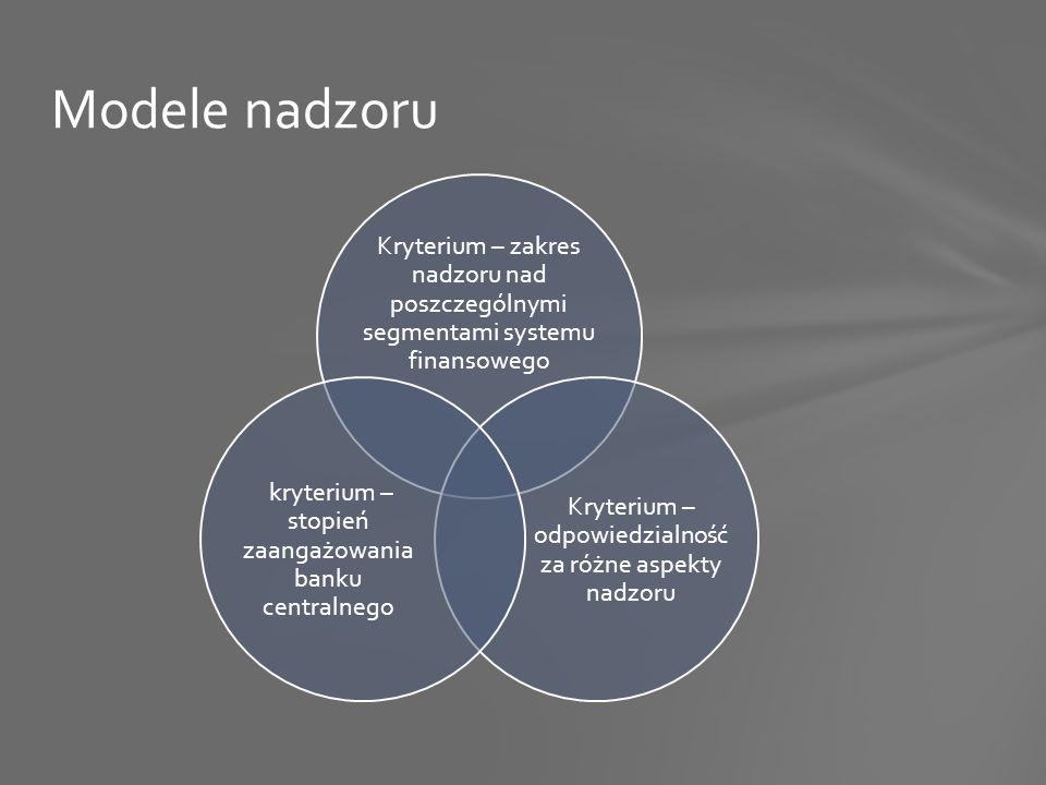 Kryterium – zakres nadzoru nad poszczególnymi segmentami systemu finansowego Kryterium – odpowiedzialność za różne aspekty nadzoru kryterium – stopień zaangażowania banku centralnego Modele nadzoru