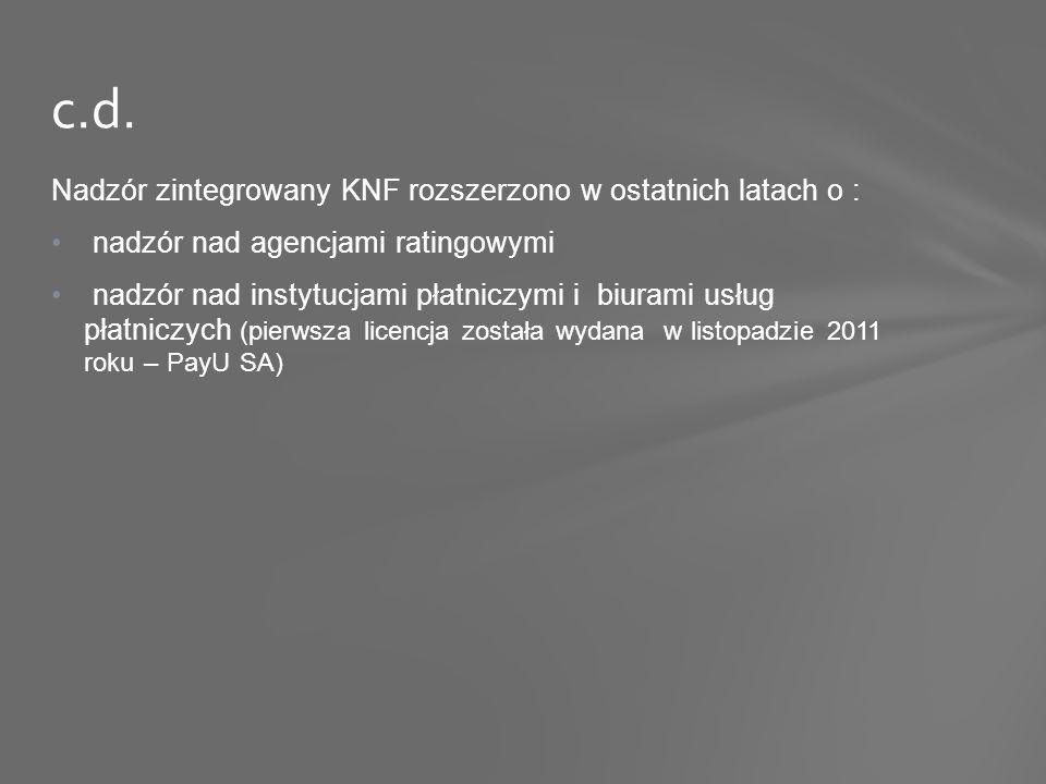 Nadzór zintegrowany KNF rozszerzono w ostatnich latach o : nadzór nad agencjami ratingowymi nadzór nad instytucjami płatniczymi i biurami usług płatniczych (pierwsza licencja została wydana w listopadzie 2011 roku – PayU SA) c.d.