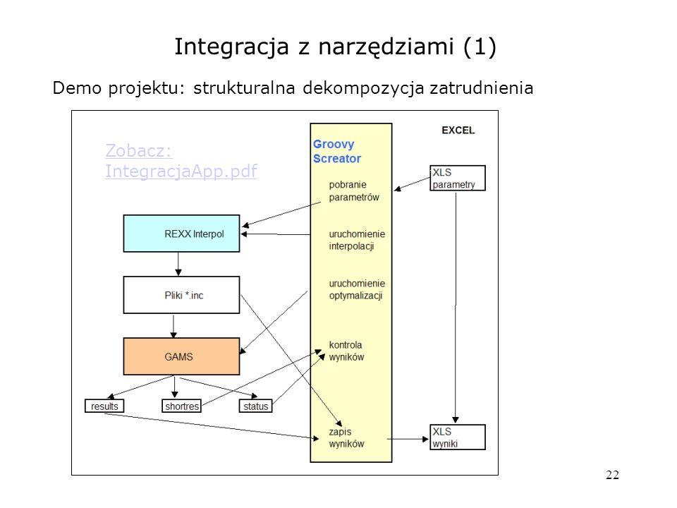 22 Integracja z narzędziami (1) Demo projektu: strukturalna dekompozycja zatrudnienia Zobacz: IntegracjaApp.pdf