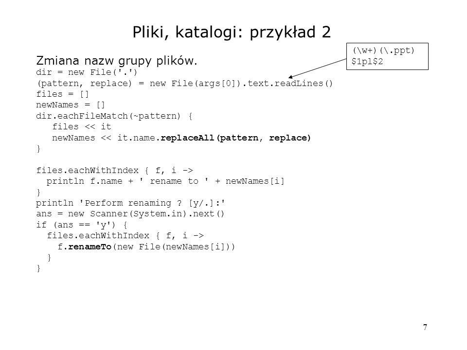 8 Uruchamianie procesów String cmd = ... out = new StringBuffer() err = new StringBuffer() Process p = cmd.execute() p.consumeProcessOutput(out, err) p.waitForOrKill(time) // p.exitCode() - kod zakończenia // out - zawartość stdout // err - zawartość stderr // p.text - inny sposób uzyskania stdout Konieczne, gdy dużo wyników na konsoli.