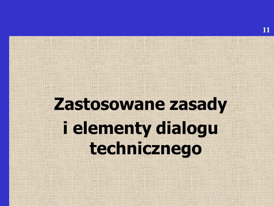 Zastosowane zasady i elementy dialogu technicznego 11