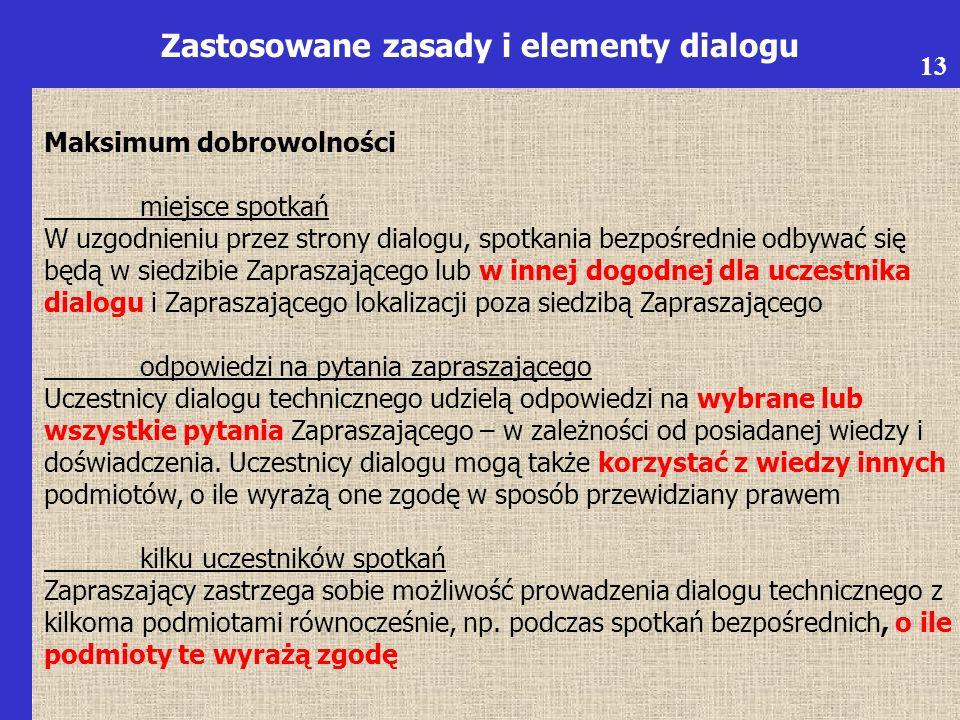 6 Zastosowane zasady i elementy dialogu Maksimum dobrowolności miejsce spotkań W uzgodnieniu przez strony dialogu, spotkania bezpośrednie odbywać się będą w siedzibie Zapraszającego lub w innej dogodnej dla uczestnika dialogu i Zapraszającego lokalizacji poza siedzibą Zapraszającego odpowiedzi na pytania zapraszającego Uczestnicy dialogu technicznego udzielą odpowiedzi na wybrane lub wszystkie pytania Zapraszającego – w zależności od posiadanej wiedzy i doświadczenia.