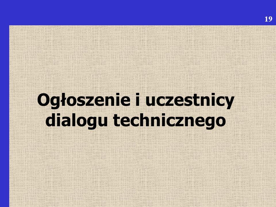 Ogłoszenie i uczestnicy dialogu technicznego 19