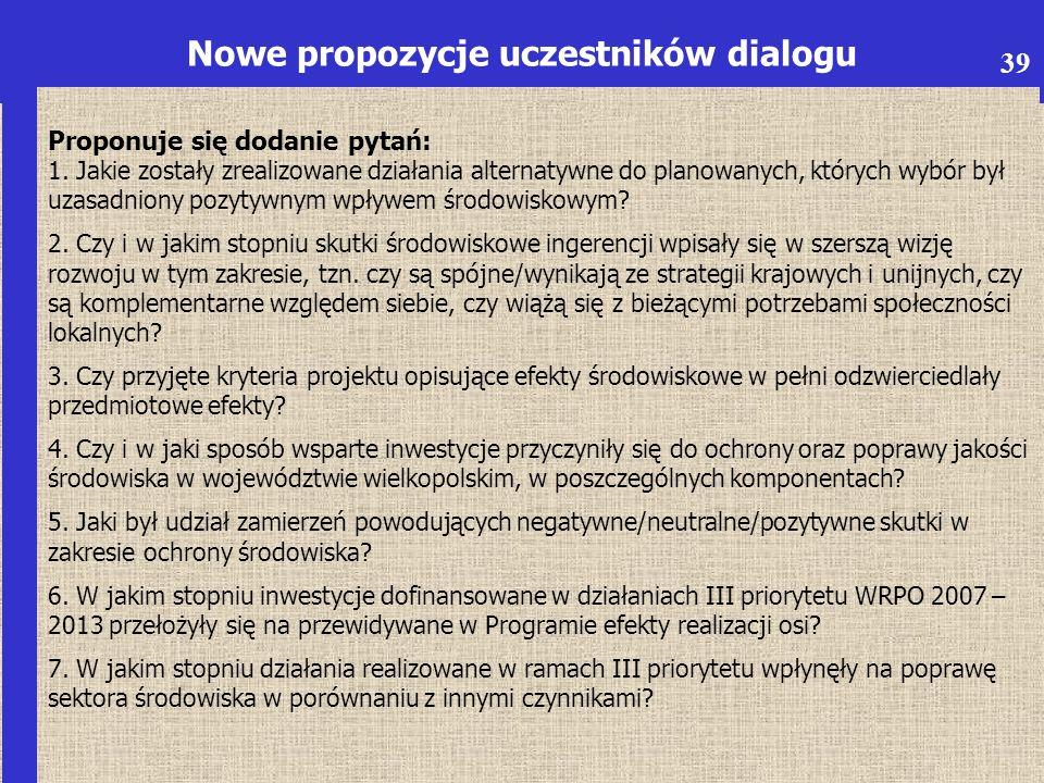 6 Nowe propozycje uczestników dialogu Proponuje się dodanie pytań: 1.