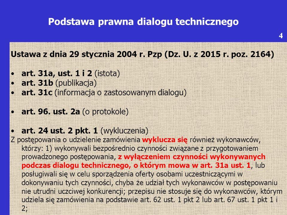 Dialog techniczny -uregulowany w art.31a, art. 31b, art.
