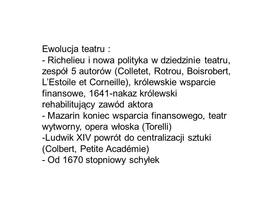 Ewolucja teatru : - Richelieu i nowa polityka w dziedzinie teatru, zespół 5 autorów (Colletet, Rotrou, Boisrobert, L'Estoile et Corneille), królewskie
