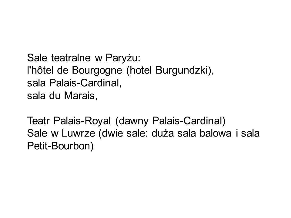 Sale teatralne w Paryżu: l hôtel de Bourgogne (hotel Burgundzki), sala Palais-Cardinal, sala du Marais, Teatr Palais-Royal (dawny Palais-Cardinal) Sale w Luwrze (dwie sale: duża sala balowa i sala Petit-Bourbon)
