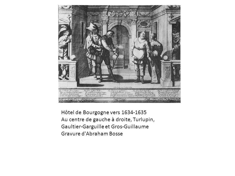 Hôtel de Bourgogne vers 1634-1635 Au centre de gauche à droite, Turlupin, Gaultier-Garguille et Gros-Guillaume Gravure d'Abraham Bosse