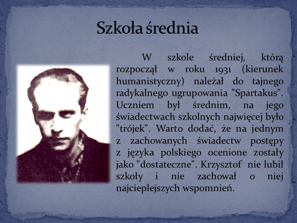 W szkole średniej, którą rozpoczął w roku 1931 (kierunek humanistyczny) należał do tajnego radykalnego ugrupowania Spartakus .