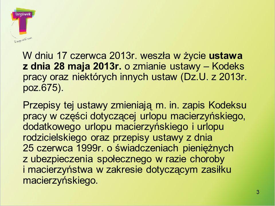 W dniu 17 czerwca 2013r. weszła w życie ustawa z dnia 28 maja 2013r. o zmianie ustawy – Kodeks pracy oraz niektórych innych ustaw (Dz.U. z 2013r. poz.
