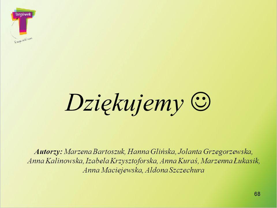 Dziękujemy Autorzy: Marzena Bartoszuk, Hanna Glińska, Jolanta Grzegorzewska, Anna Kalinowska, Izabela Krzysztoforska, Anna Kuraś, Marzenna Łukasik, An