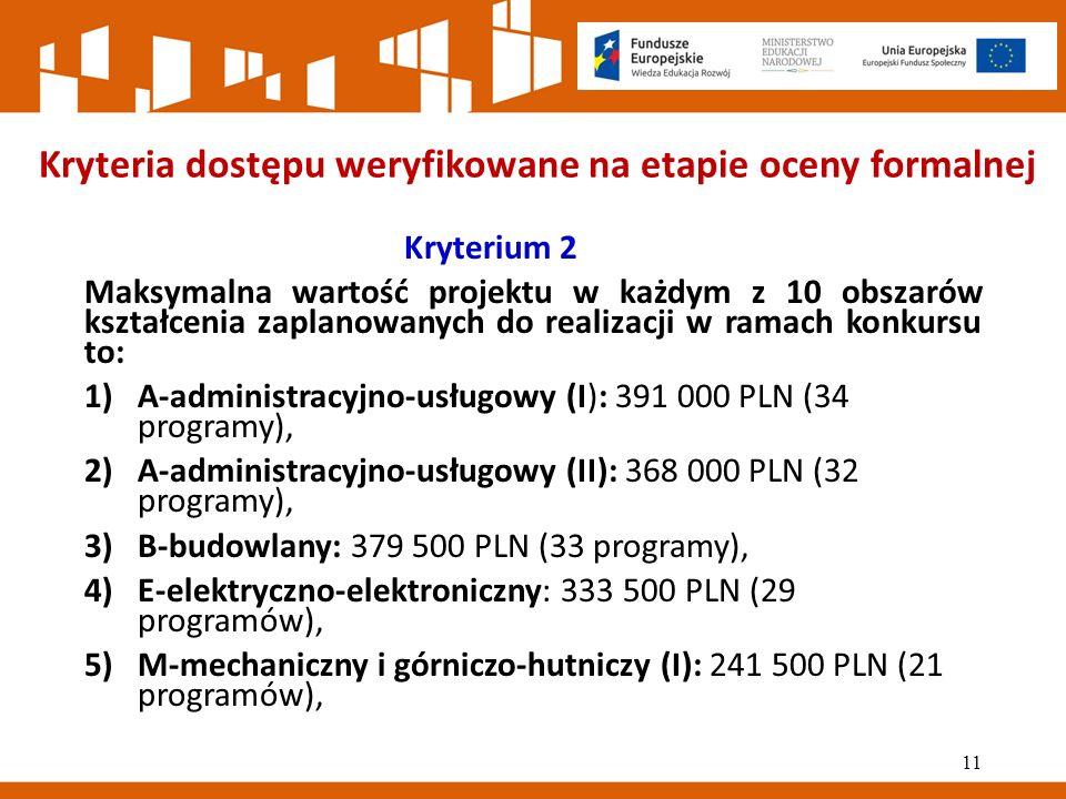 Kryteria dostępu weryfikowane na etapie oceny formalnej Kryterium 2 Maksymalna wartość projektu w każdym z 10 obszarów kształcenia zaplanowanych do realizacji w ramach konkursu to: 1)A-administracyjno-usługowy (I): 391 000 PLN (34 programy), 2)A-administracyjno-usługowy (II): 368 000 PLN (32 programy), 3)B-budowlany: 379 500 PLN (33 programy), 4)E-elektryczno-elektroniczny: 333 500 PLN (29 programów), 5)M-mechaniczny i górniczo-hutniczy (I): 241 500 PLN (21 programów), 11