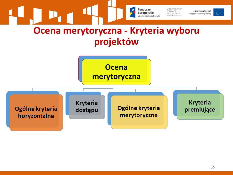 Ocena merytoryczna - Kryteria wyboru projektów Ocena merytoryczna Ogólne kryteria horyzontalne Kryteria dostępu Ogólne kryteria merytoryczne Kryteria premiujące 16
