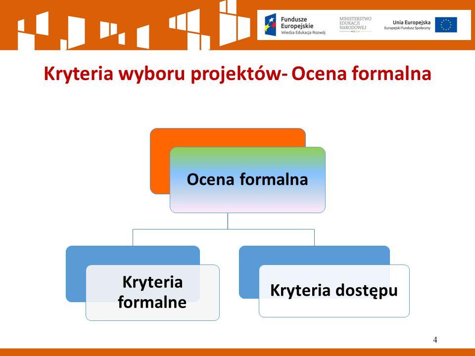 Kryteria wyboru projektów- Ocena formalna Ocena formalna Kryteria formalne Kryteria dostępu 4