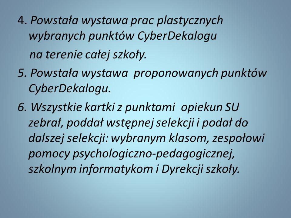 4. Powstała wystawa prac plastycznych wybranych punktów CyberDekalogu na terenie całej szkoły. 5. Powstała wystawa proponowanych punktów CyberDekalogu