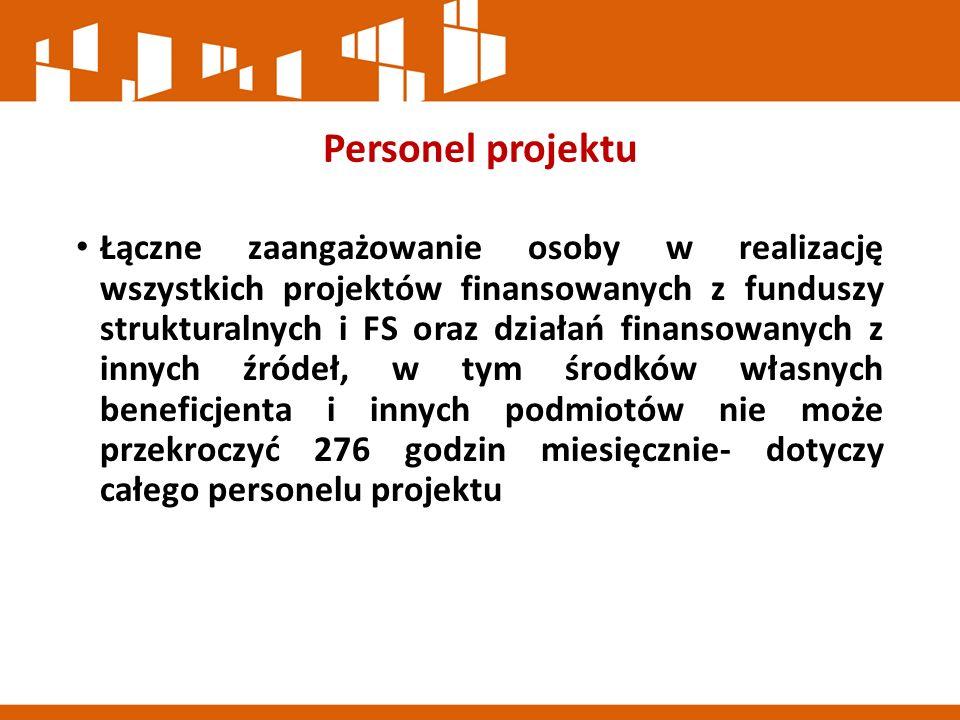 Personel projektu Łączne zaangażowanie osoby w realizację wszystkich projektów finansowanych z funduszy strukturalnych i FS oraz działań finansowanych z innych źródeł, w tym środków własnych beneficjenta i innych podmiotów nie może przekroczyć 276 godzin miesięcznie- dotyczy całego personelu projektu