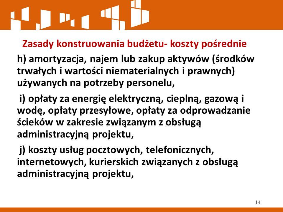 Zasady konstruowania budżetu- koszty pośrednie h) amortyzacja, najem lub zakup aktywów (środków trwałych i wartości niematerialnych i prawnych) używanych na potrzeby personelu, i) opłaty za energię elektryczną, cieplną, gazową i wodę, opłaty przesyłowe, opłaty za odprowadzanie ścieków w zakresie związanym z obsługą administracyjną projektu, j) koszty usług pocztowych, telefonicznych, internetowych, kurierskich związanych z obsługą administracyjną projektu, 14