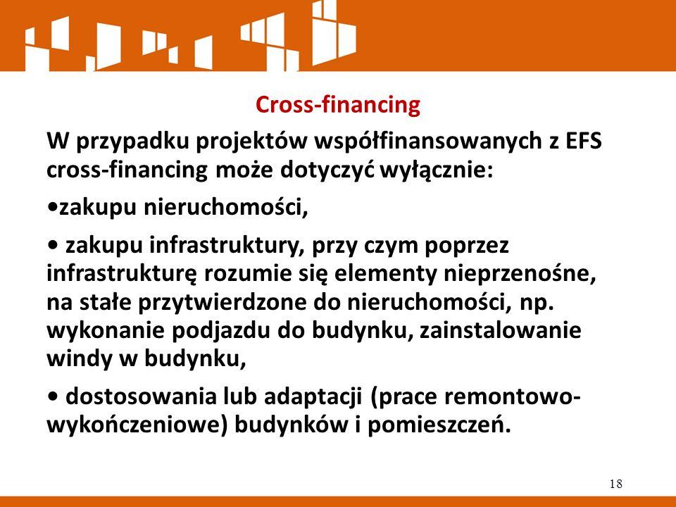 Cross-financing W przypadku projektów współfinansowanych z EFS cross-financing może dotyczyć wyłącznie: zakupu nieruchomości, zakupu infrastruktury, przy czym poprzez infrastrukturę rozumie się elementy nieprzenośne, na stałe przytwierdzone do nieruchomości, np.