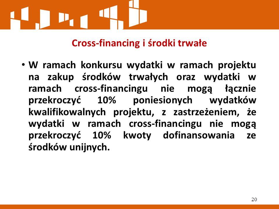 Cross-financing i środki trwałe W ramach konkursu wydatki w ramach projektu na zakup środków trwałych oraz wydatki w ramach cross-financingu nie mogą łącznie przekroczyć 10% poniesionych wydatków kwalifikowalnych projektu, z zastrzeżeniem, że wydatki w ramach cross-financingu nie mogą przekroczyć 10% kwoty dofinansowania ze środków unijnych.