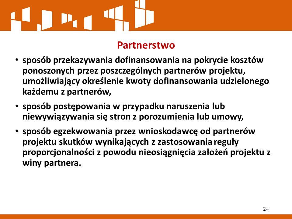 Partnerstwo sposób przekazywania dofinansowania na pokrycie kosztów ponoszonych przez poszczególnych partnerów projektu, umożliwiający określenie kwoty dofinansowania udzielonego każdemu z partnerów, sposób postępowania w przypadku naruszenia lub niewywiązywania się stron z porozumienia lub umowy, sposób egzekwowania przez wnioskodawcę od partnerów projektu skutków wynikających z zastosowania reguły proporcjonalności z powodu nieosiągnięcia założeń projektu z winy partnera.