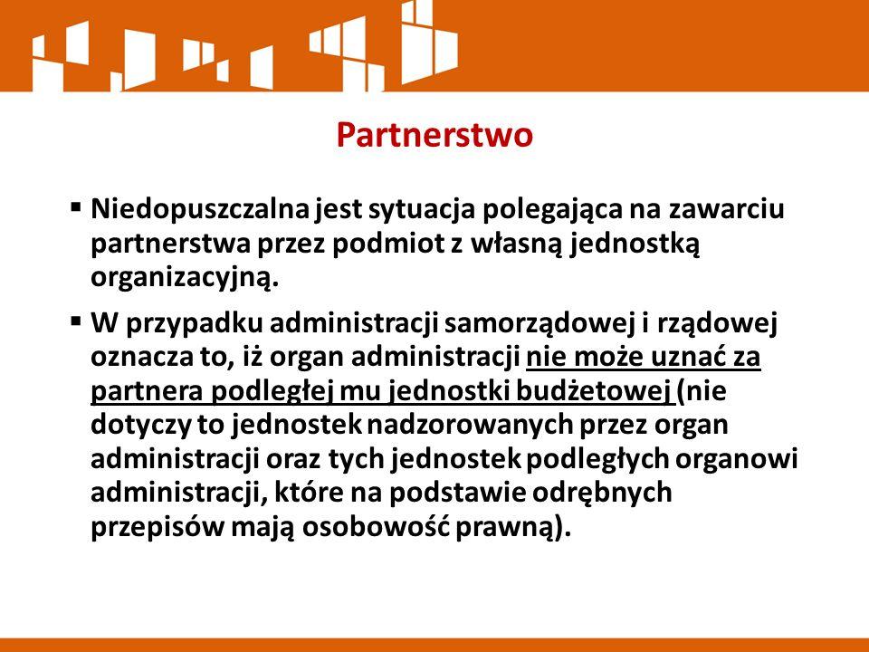 Partnerstwo  Niedopuszczalna jest sytuacja polegająca na zawarciu partnerstwa przez podmiot z własną jednostką organizacyjną.