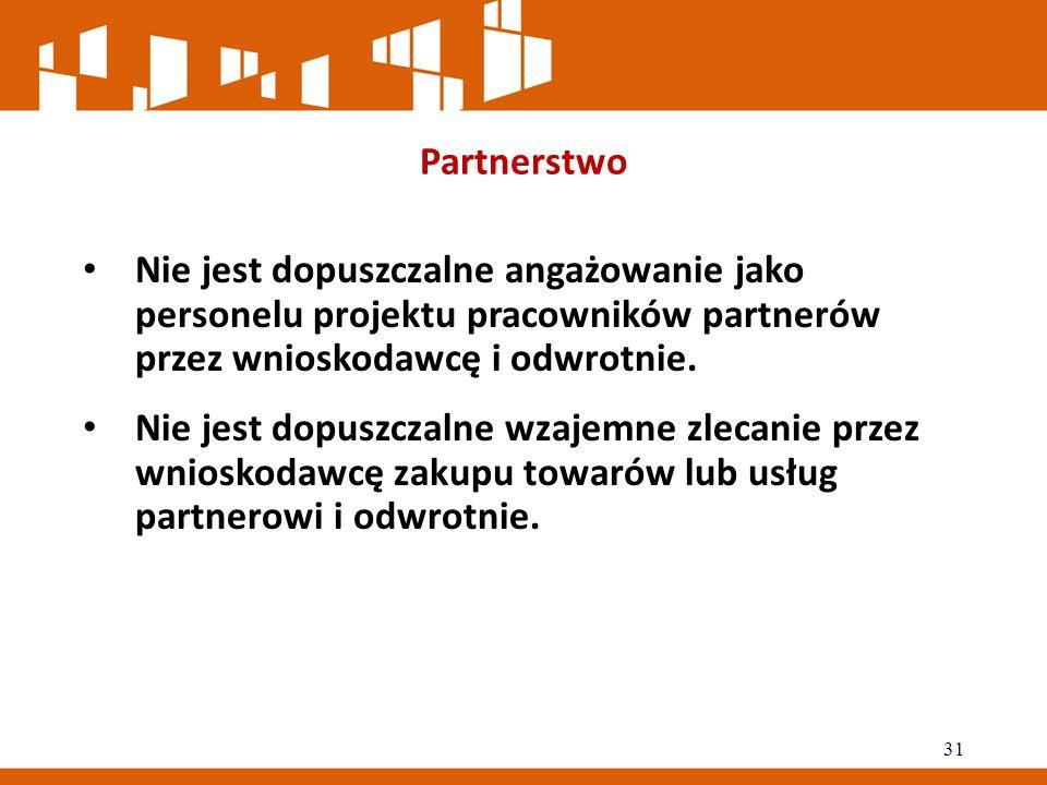 Partnerstwo Nie jest dopuszczalne angażowanie jako personelu projektu pracowników partnerów przez wnioskodawcę i odwrotnie.