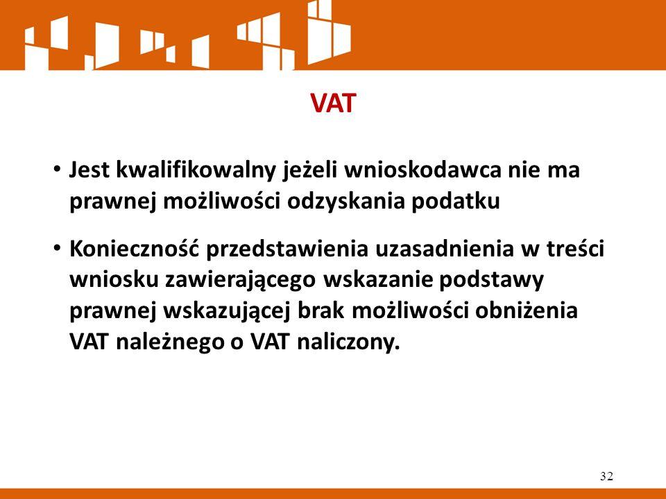 VAT Jest kwalifikowalny jeżeli wnioskodawca nie ma prawnej możliwości odzyskania podatku Konieczność przedstawienia uzasadnienia w treści wniosku zawierającego wskazanie podstawy prawnej wskazującej brak możliwości obniżenia VAT należnego o VAT naliczony.
