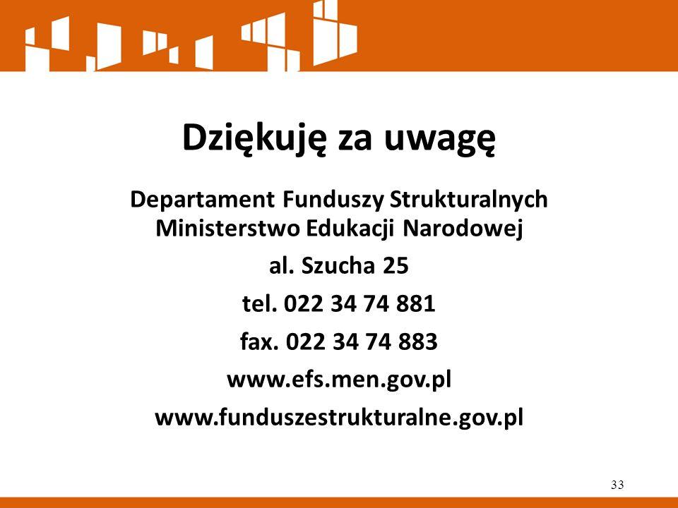 Dziękuję za uwagę Departament Funduszy Strukturalnych Ministerstwo Edukacji Narodowej al.