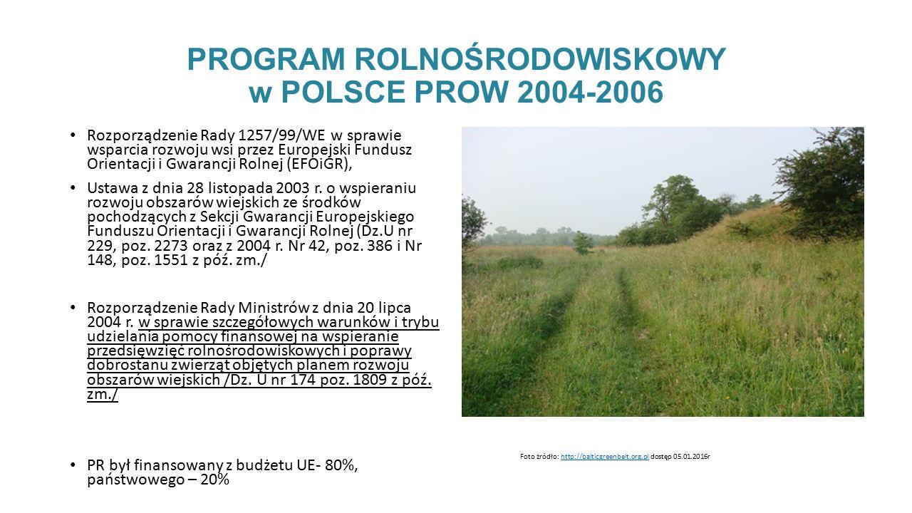 PROGRAM ROLNOŚRODOWISKOWY w POLSCE PROW 2004-2006 Rozporządzenie Rady 1257/99/WE w sprawie wsparcia rozwoju wsi przez Europejski Fundusz Orientacji i Gwarancji Rolnej (EFOiGR), Ustawa z dnia 28 listopada 2003 r.