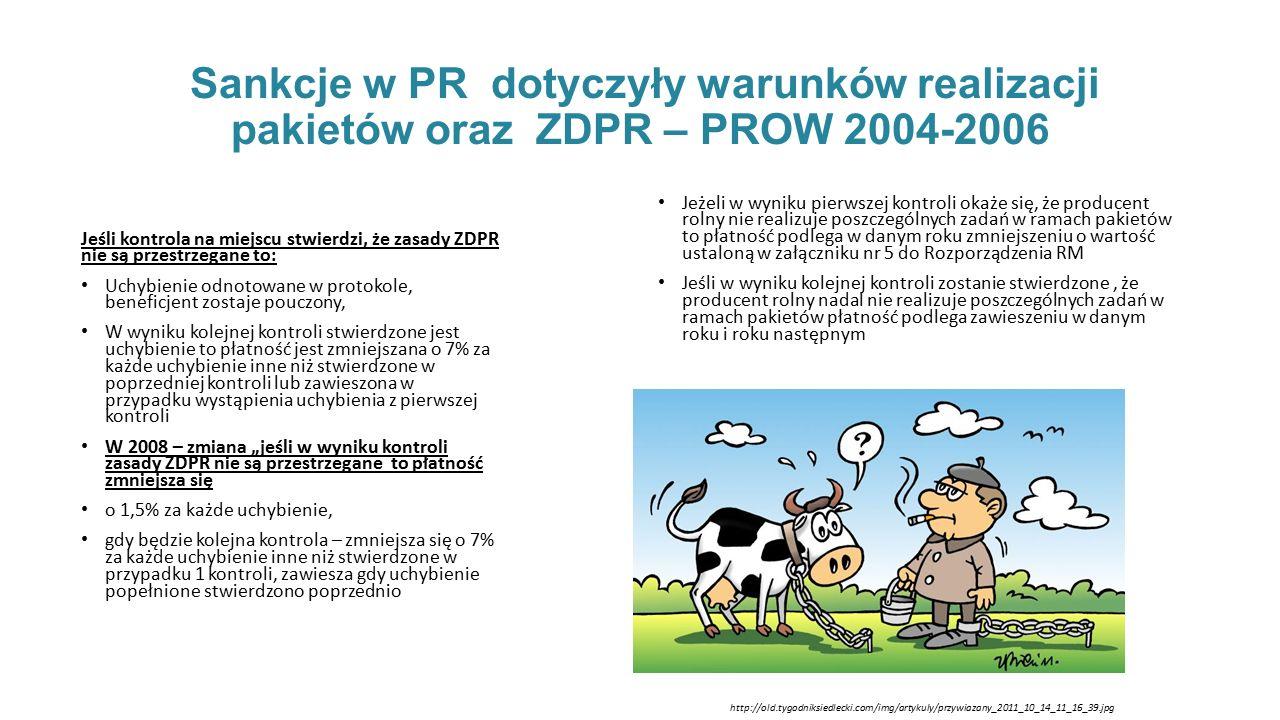 """Sankcje w PR dotyczyły warunków realizacji pakietów oraz ZDPR – PROW 2004-2006 Jeśli kontrola na miejscu stwierdzi, że zasady ZDPR nie są przestrzegane to: Uchybienie odnotowane w protokole, beneficjent zostaje pouczony, W wyniku kolejnej kontroli stwierdzone jest uchybienie to płatność jest zmniejszana o 7% za każde uchybienie inne niż stwierdzone w poprzedniej kontroli lub zawieszona w przypadku wystąpienia uchybienia z pierwszej kontroli W 2008 – zmiana """"jeśli w wyniku kontroli zasady ZDPR nie są przestrzegane to płatność zmniejsza się o 1,5% za każde uchybienie, gdy będzie kolejna kontrola – zmniejsza się o 7% za każde uchybienie inne niż stwierdzone w przypadku 1 kontroli, zawiesza gdy uchybienie popełnione stwierdzono poprzednio Jeżeli w wyniku pierwszej kontroli okaże się, że producent rolny nie realizuje poszczególnych zadań w ramach pakietów to płatność podlega w danym roku zmniejszeniu o wartość ustaloną w załączniku nr 5 do Rozporządzenia RM Jeśli w wyniku kolejnej kontroli zostanie stwierdzone, że producent rolny nadal nie realizuje poszczególnych zadań w ramach pakietów płatność podlega zawieszeniu w danym roku i roku następnym http://old.tygodniksiedlecki.com/img/artykuly/przywiazany_2011_10_14_11_16_39.jpg"""