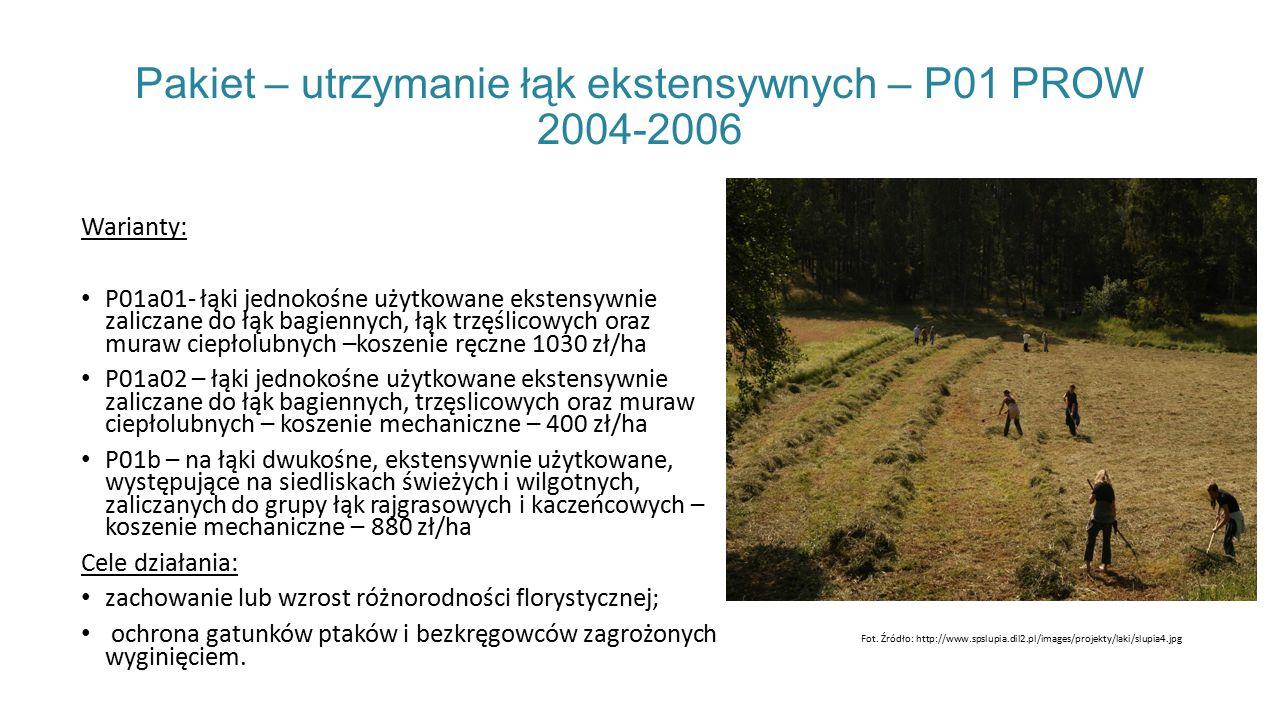 Pakiet – utrzymanie łąk ekstensywnych – P01 PROW 2004-2006 Warianty: P01a01- łąki jednokośne użytkowane ekstensywnie zaliczane do łąk bagiennych, łąk trzęślicowych oraz muraw ciepłolubnych –koszenie ręczne 1030 zł/ha P01a02 – łąki jednokośne użytkowane ekstensywnie zaliczane do łąk bagiennych, trzęslicowych oraz muraw ciepłolubnych – koszenie mechaniczne – 400 zł/ha P01b – na łąki dwukośne, ekstensywnie użytkowane, występujące na siedliskach świeżych i wilgotnych, zaliczanych do grupy łąk rajgrasowych i kaczeńcowych – koszenie mechaniczne – 880 zł/ha Cele działania: zachowanie lub wzrost różnorodności florystycznej; ochrona gatunków ptaków i bezkręgowców zagrożonych wyginięciem.