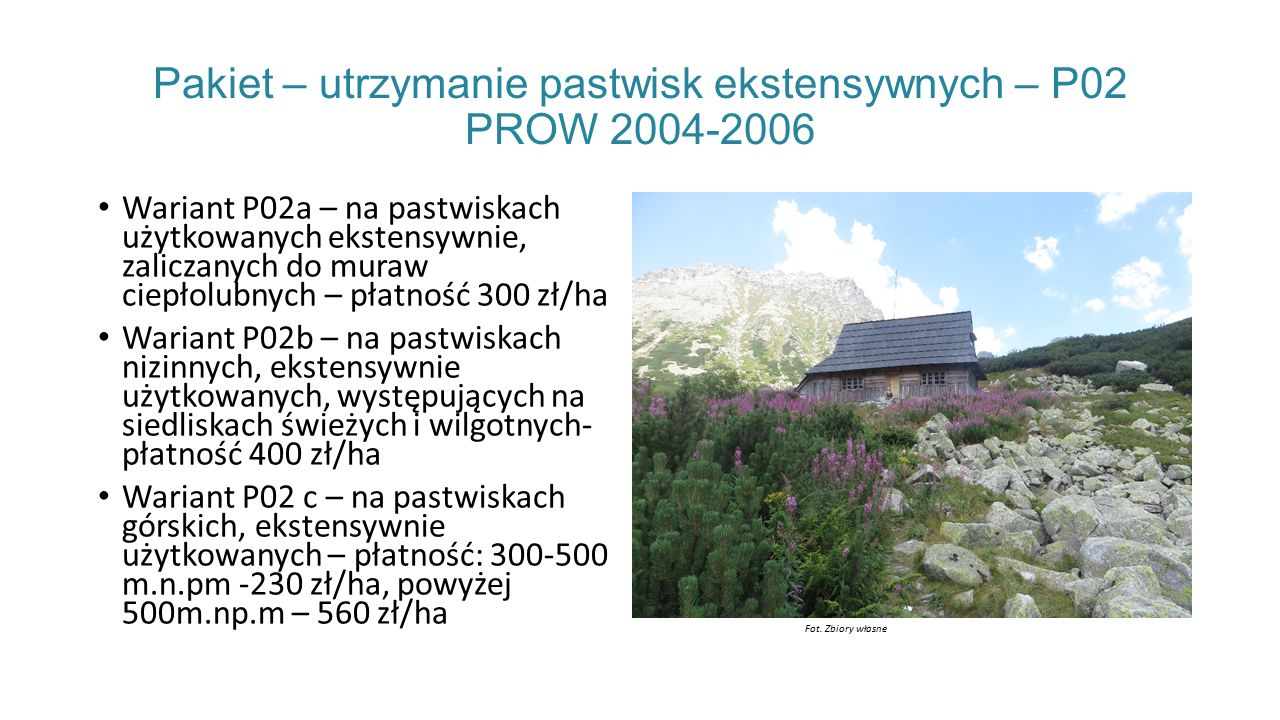 Pakiet – utrzymanie pastwisk ekstensywnych – P02 PROW 2004-2006 Wariant P02a – na pastwiskach użytkowanych ekstensywnie, zaliczanych do muraw ciepłolubnych – płatność 300 zł/ha Wariant P02b – na pastwiskach nizinnych, ekstensywnie użytkowanych, występujących na siedliskach świeżych i wilgotnych- płatność 400 zł/ha Wariant P02 c – na pastwiskach górskich, ekstensywnie użytkowanych – płatność: 300-500 m.n.pm -230 zł/ha, powyżej 500m.np.m – 560 zł/ha Fot.