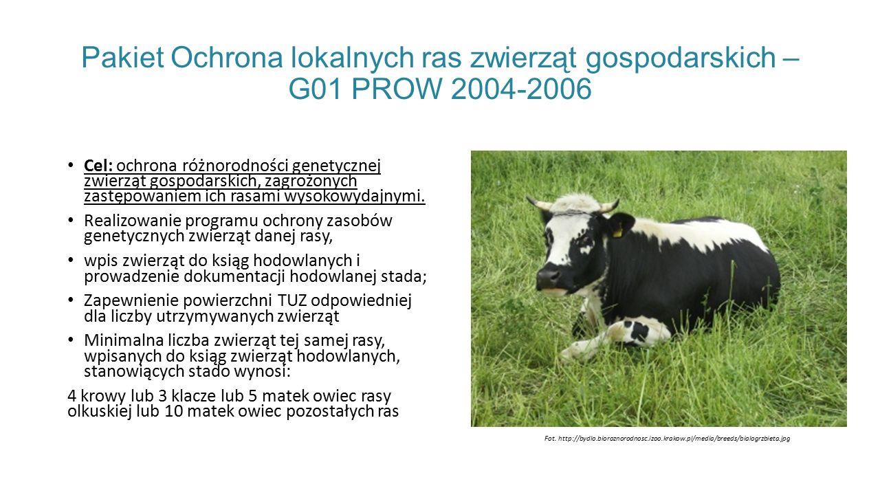 Pakiet Ochrona lokalnych ras zwierząt gospodarskich – G01 PROW 2004-2006 Cel: ochrona różnorodności genetycznej zwierząt gospodarskich, zagrożonych zastępowaniem ich rasami wysokowydajnymi.