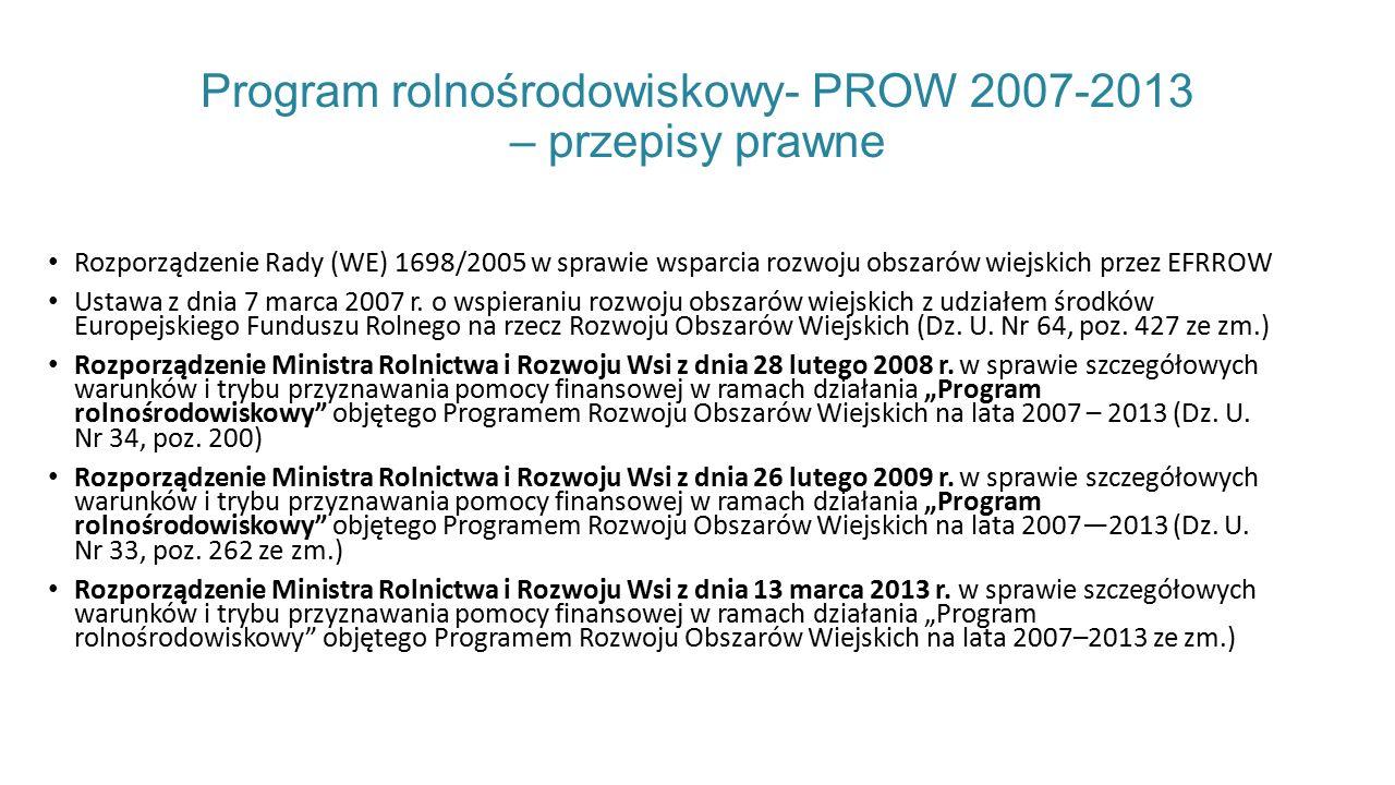 Program rolnośrodowiskowy- PROW 2007-2013 – przepisy prawne Rozporządzenie Rady (WE) 1698/2005 w sprawie wsparcia rozwoju obszarów wiejskich przez EFRROW Ustawa z dnia 7 marca 2007 r.
