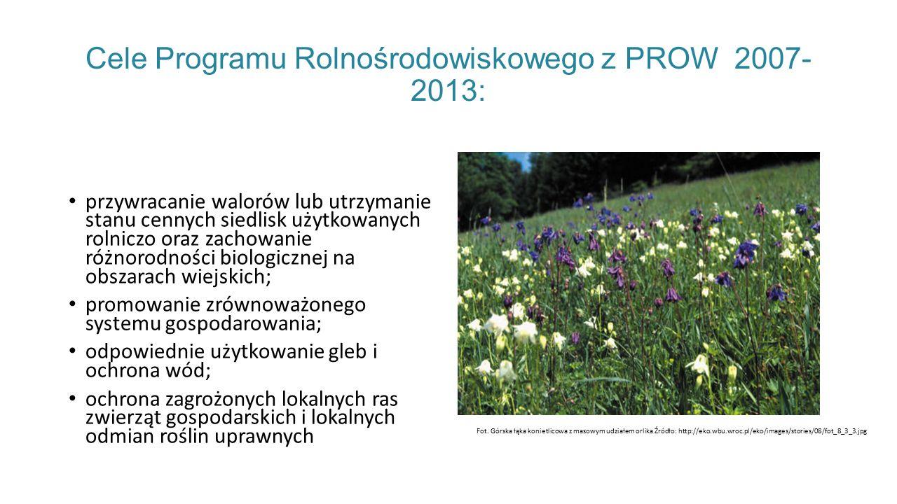 Cele Programu Rolnośrodowiskowego z PROW 2007- 2013: przywracanie walorów lub utrzymanie stanu cennych siedlisk użytkowanych rolniczo oraz zachowanie różnorodności biologicznej na obszarach wiejskich; promowanie zrównoważonego systemu gospodarowania; odpowiednie użytkowanie gleb i ochrona wód; ochrona zagrożonych lokalnych ras zwierząt gospodarskich i lokalnych odmian roślin uprawnych Fot.