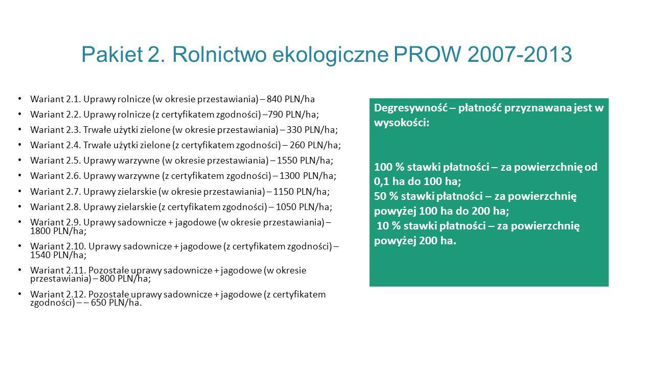 Pakiet 2.Rolnictwo ekologiczne PROW 2007-2013 Wariant 2.1.