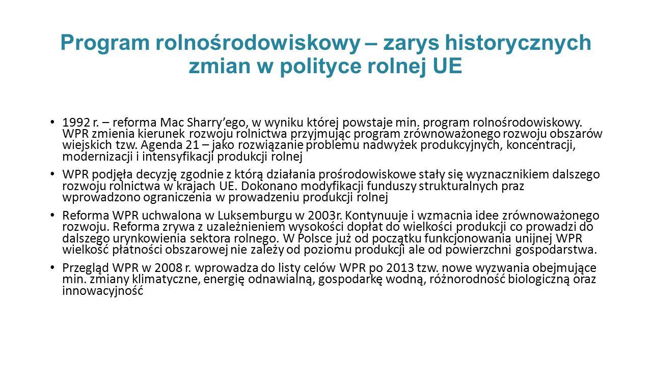 Program rolnośrodowiskowy – zarys historycznych zmian w polityce rolnej UE 1992 r.